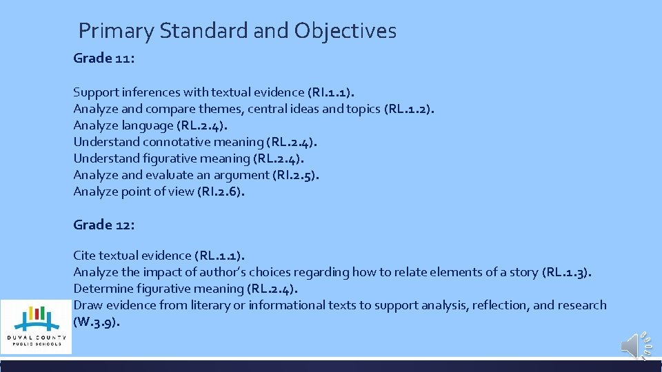 Primary Standard and Objectives Grade 11: Support inferences with textual evidence (RI. 1. 1).