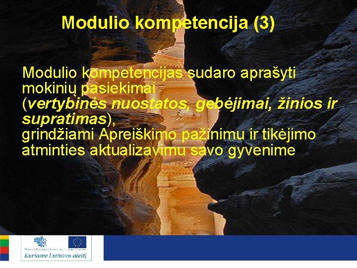 Modulio kompetencija (3) Modulio kompetencijas sudaro aprašyti mokinių pasiekimai (vertybinės nuostatos, gebėjimai, žinios ir