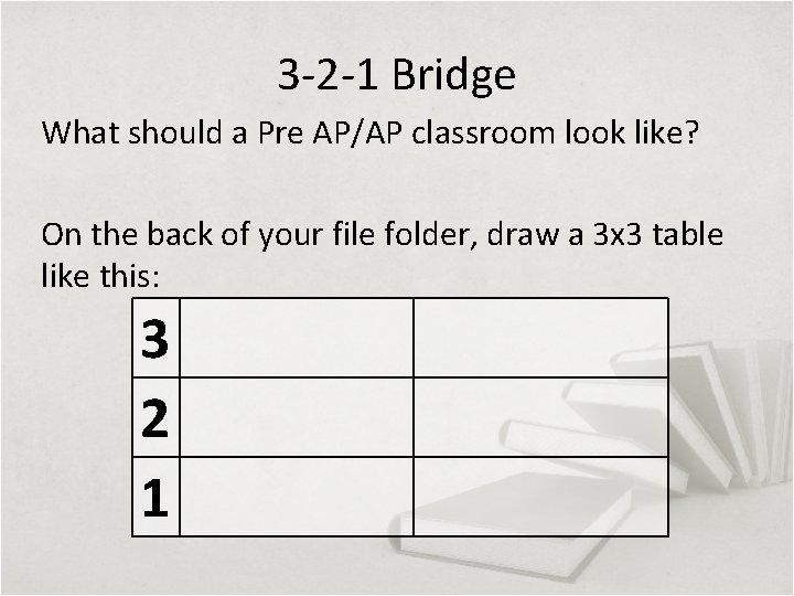 3 -2 -1 Bridge What should a Pre AP/AP classroom look like? On the