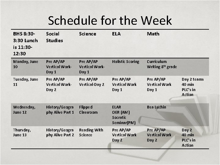 Schedule for the Week BHS 8: 303: 30 Lunch is 11: 3012: 30 Social