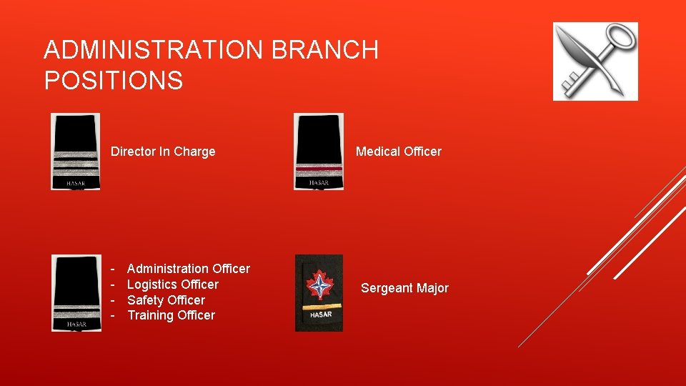 ADMINISTRATION BRANCH POSITIONS Director In Charge - Administration Officer Logistics Officer Safety Officer Training