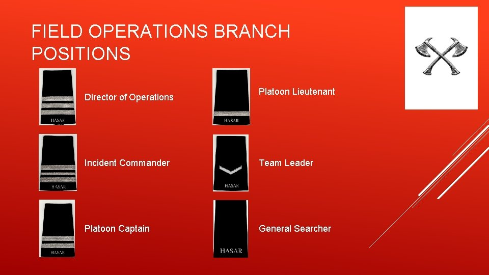 FIELD OPERATIONS BRANCH POSITIONS Director of Operations Platoon Lieutenant Incident Commander Team Leader Platoon