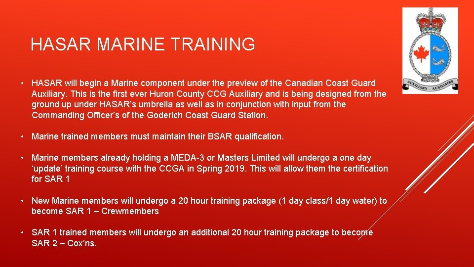 HASAR MARINE TRAINING • HASAR will begin a Marine component under the preview of