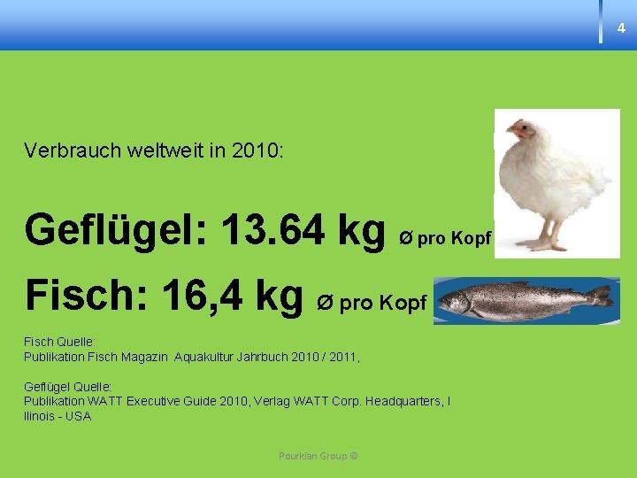 4 Verbrauch weltweit in 2010: Geflügel: 13. 64 kg Ø pro Kopf Fisch: 16,