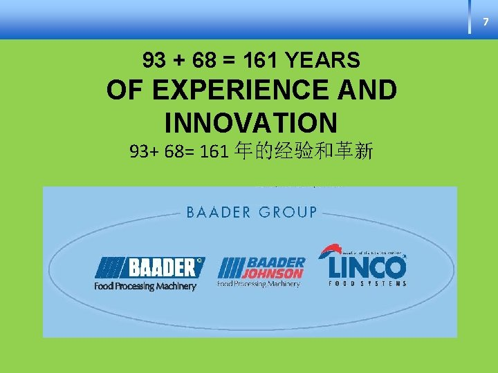 7 93 + 68 = 161 YEARS OF EXPERIENCE AND INNOVATION 93+ 68= 161
