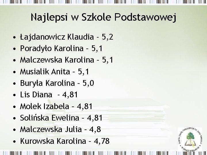 Najlepsi w Szkole Podstawowej • • • Łajdanowicz Klaudia - 5, 2 Poradyło Karolina