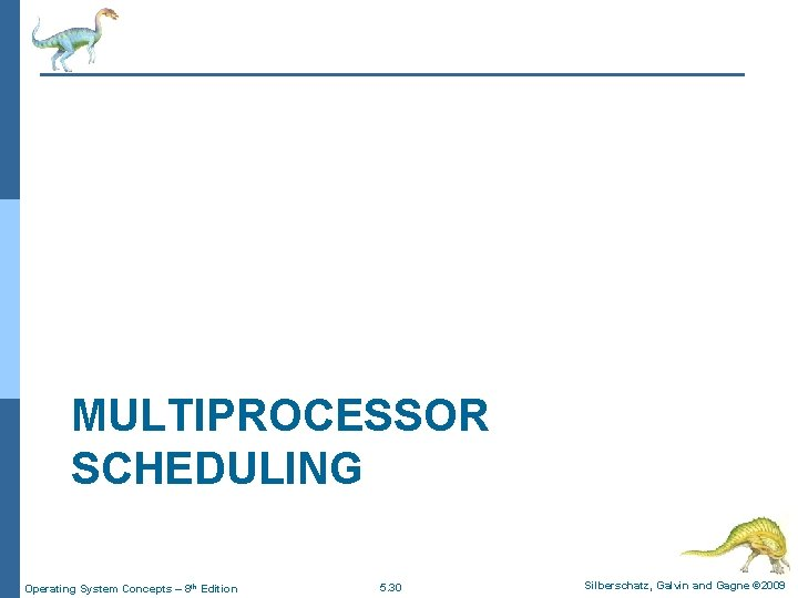 MULTIPROCESSOR SCHEDULING Operating System Concepts – 8 th Edition 5. 30 Silberschatz, Galvin and