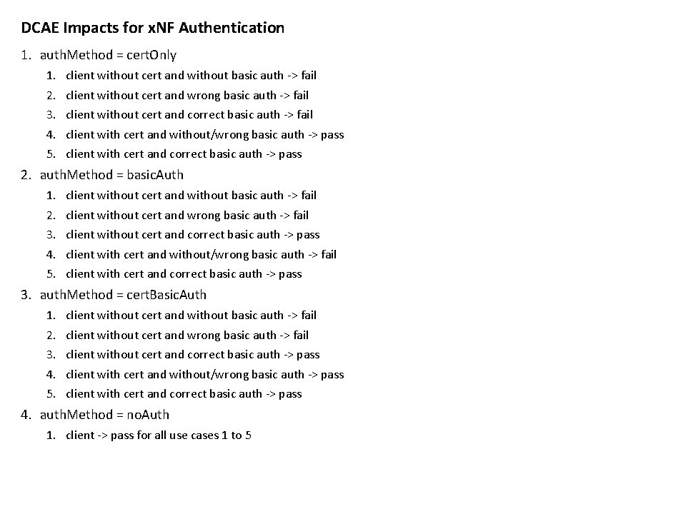 DCAE Impacts for x. NF Authentication 1. auth. Method = cert. Only 1. 2.