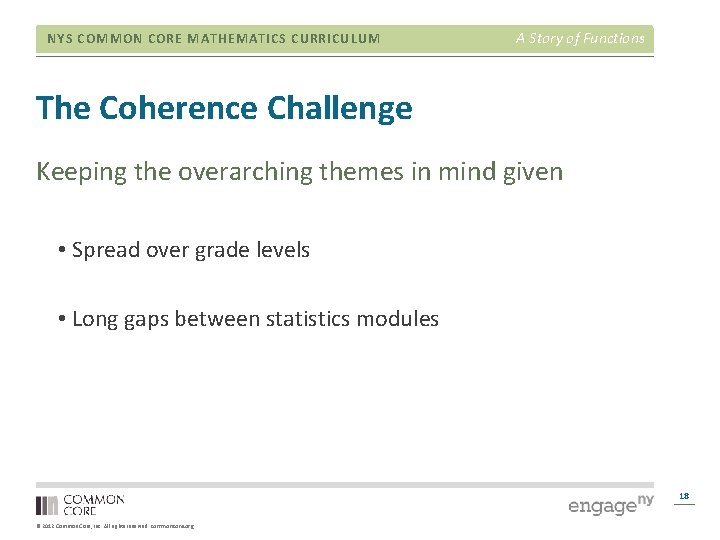 NYS COMMON CORE MATHEMATICS CURRICULUM A Story of Functions The Coherence Challenge Keeping the