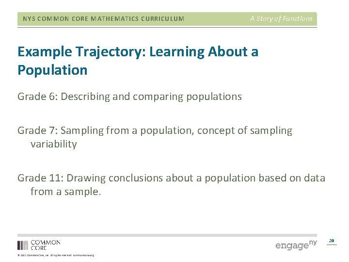 NYS COMMON CORE MATHEMATICS CURRICULUM A Story of Functions Example Trajectory: Learning About a
