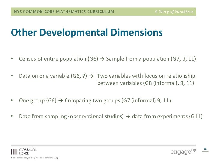 NYS COMMON CORE MATHEMATICS CURRICULUM A Story of Functions Other Developmental Dimensions • Census