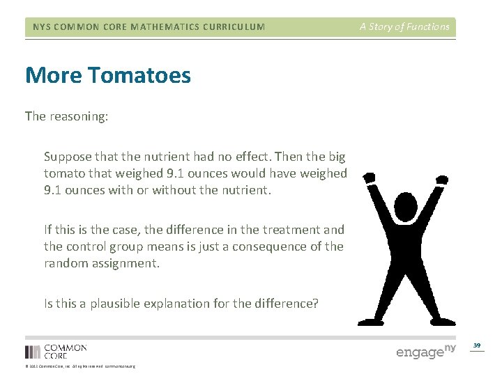 NYS COMMON CORE MATHEMATICS CURRICULUM A Story of Functions More Tomatoes The reasoning: Suppose