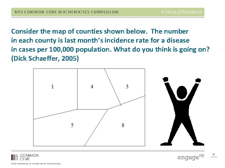 NYS COMMON CORE MATHEMATICS CURRICULUM A Story of Functions Consider the map of counties