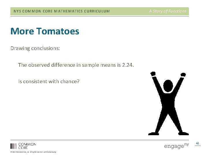 NYS COMMON CORE MATHEMATICS CURRICULUM A Story of Functions More Tomatoes Drawing conclusions: The