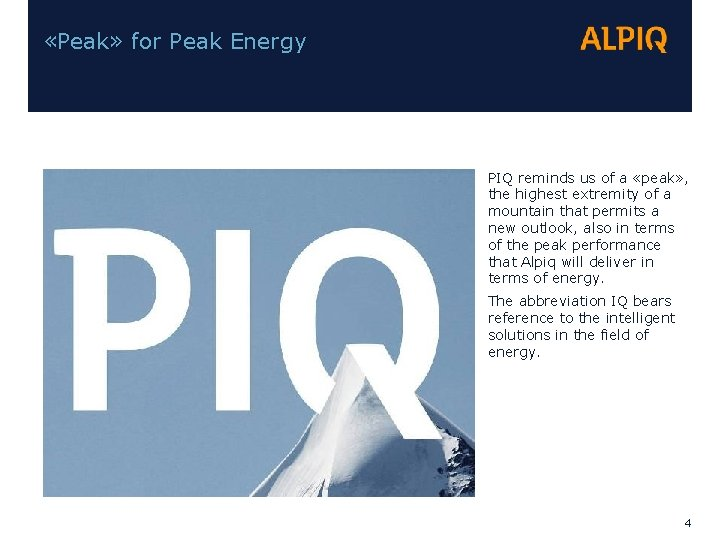«Peak» for Peak Energy PIQ reminds us of a «peak» , the highest