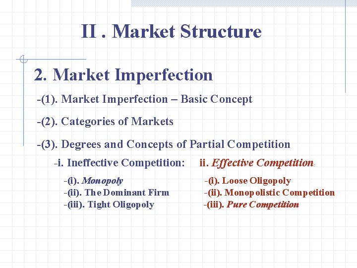 II. Market Structure 2. Market Imperfection -(1). Market Imperfection – Basic Concept -(2). Categories