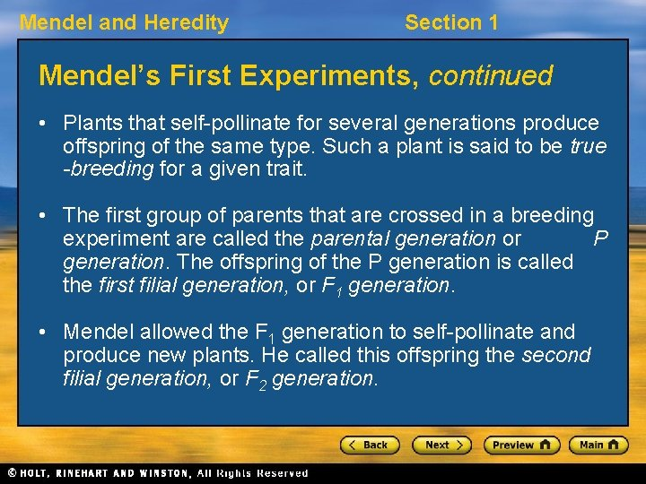 Mendel and Heredity Section 1 Mendel's First Experiments, continued • Plants that self-pollinate for