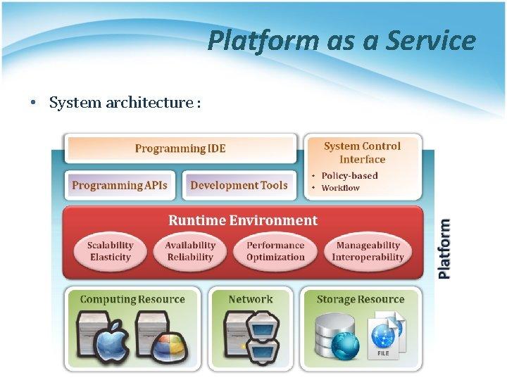 Platform as a Service • System architecture :