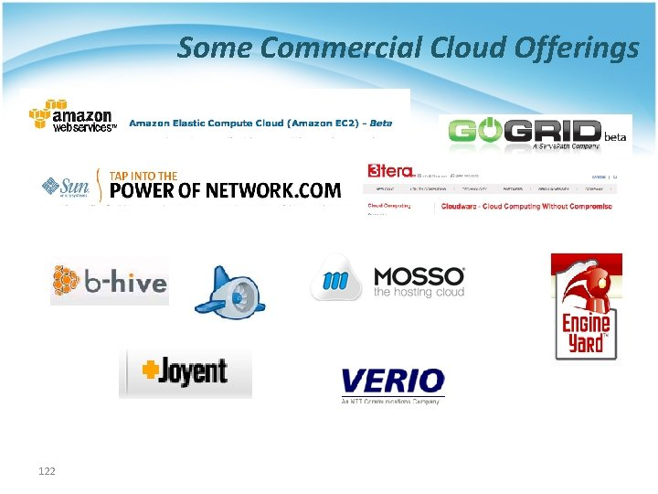 Some Commercial Cloud Offerings 122