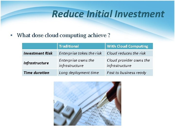 Reduce Initial Investment • What dose cloud computing achieve ? Traditional With Cloud Computing