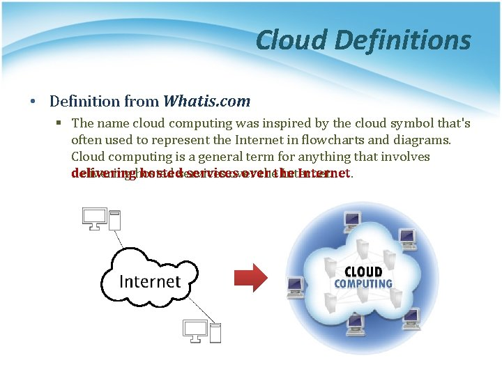 Cloud Definitions • Definition from Whatis. com § The name cloud computing was inspired