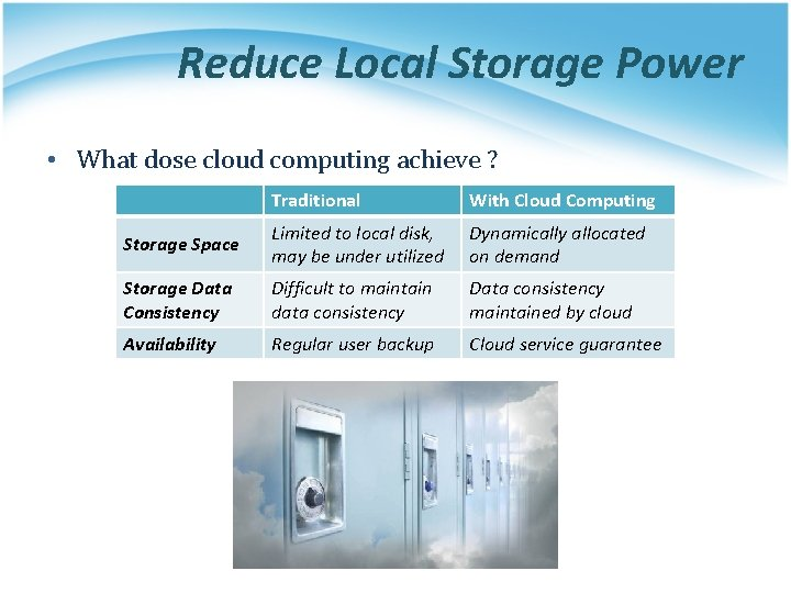 Reduce Local Storage Power • What dose cloud computing achieve ? Traditional With Cloud