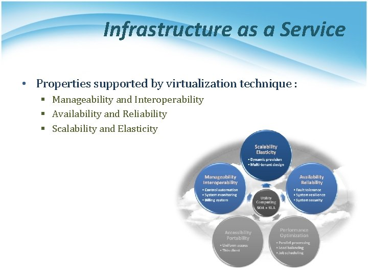 Infrastructure as a Service • Properties supported by virtualization technique : § Manageability and