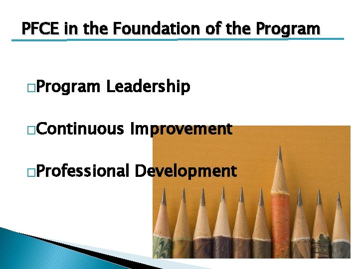 PFCE in the Foundation of the Program �Program Leadership �Continuous �Professional Improvement Development