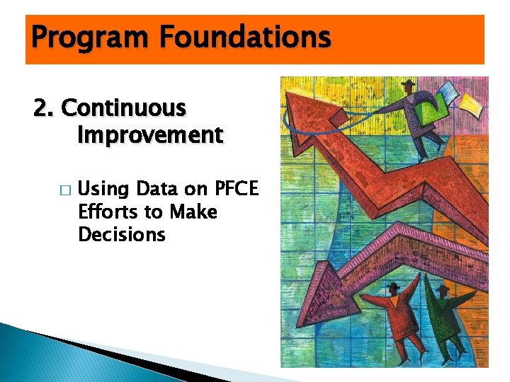 Program Foundations 2. Continuous Improvement � Using Data on PFCE Efforts to Make Decisions