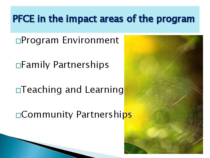 PFCE in the impact areas of the program �Program �Family Environment Partnerships �Teaching and