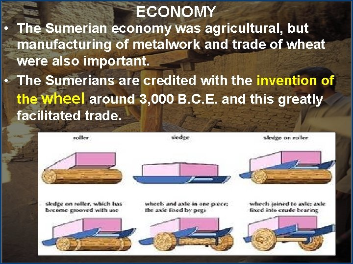 ECONOMY • The Sumerian economy was agricultural, but manufacturing of metalwork and trade of