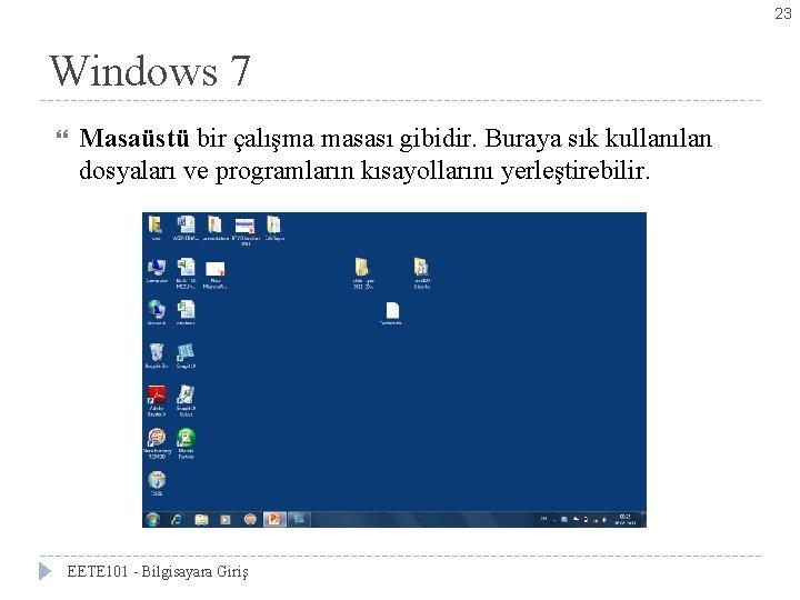 23 Windows 7 Masaüstü bir çalışma masası gibidir. Buraya sık kullanılan dosyaları ve programların