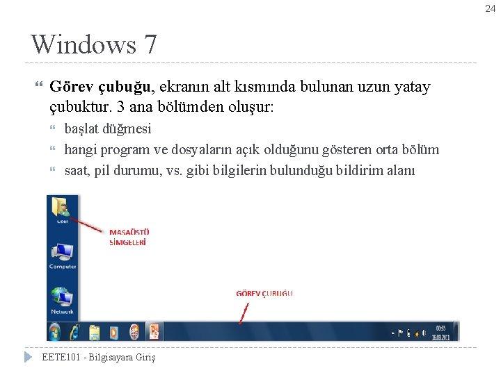 24 Windows 7 Görev çubuğu, ekranın alt kısmında bulunan uzun yatay çubuktur. 3 ana