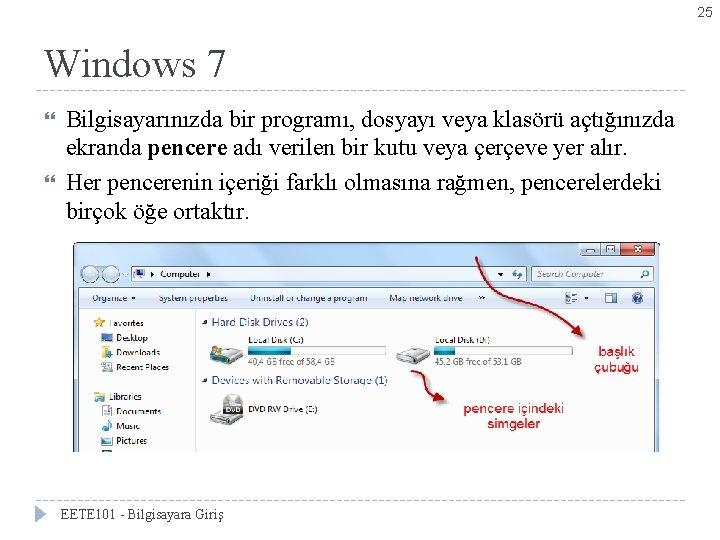 25 Windows 7 Bilgisayarınızda bir programı, dosyayı veya klasörü açtığınızda ekranda pencere adı verilen