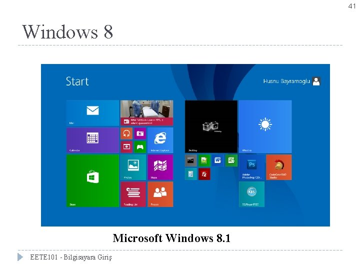 41 Windows 8 Microsoft Windows 8. 1 EETE 101 - Bilgisayara Giriş