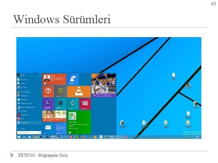 43 Windows Sürümleri EETE 101 - Bilgisayara Giriş