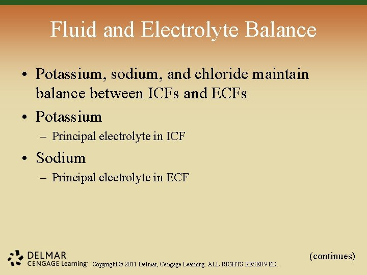 Fluid and Electrolyte Balance • Potassium, sodium, and chloride maintain balance between ICFs and