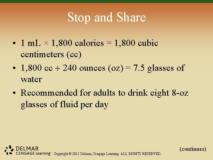 Stop and Share • 1 m. L × 1, 800 calories = 1, 800