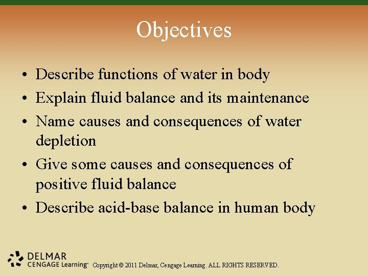 Objectives • Describe functions of water in body • Explain fluid balance and its