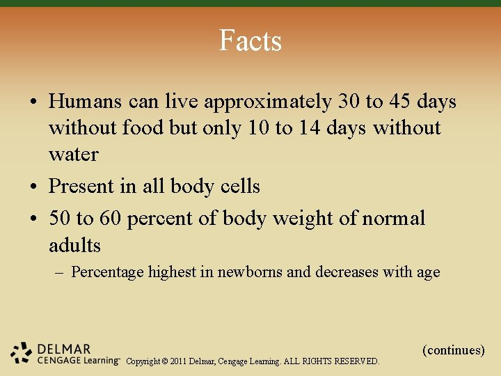 Facts • Humans can live approximately 30 to 45 days without food but only