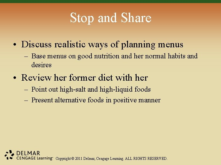 Stop and Share • Discuss realistic ways of planning menus – Base menus on