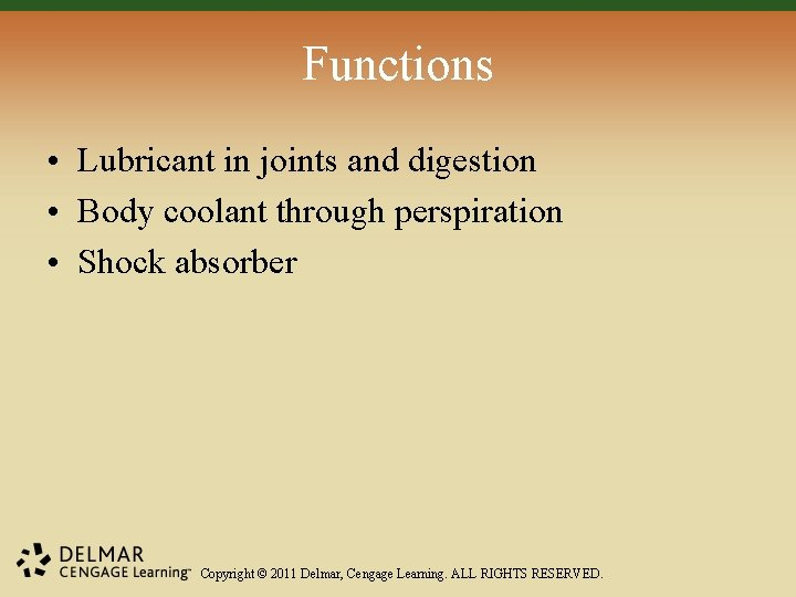 Functions • Lubricant in joints and digestion • Body coolant through perspiration • Shock