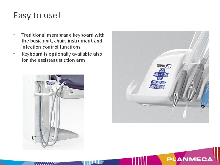 Easy to use! • • Traditional membrane keyboard with the basic unit, chair, instrument