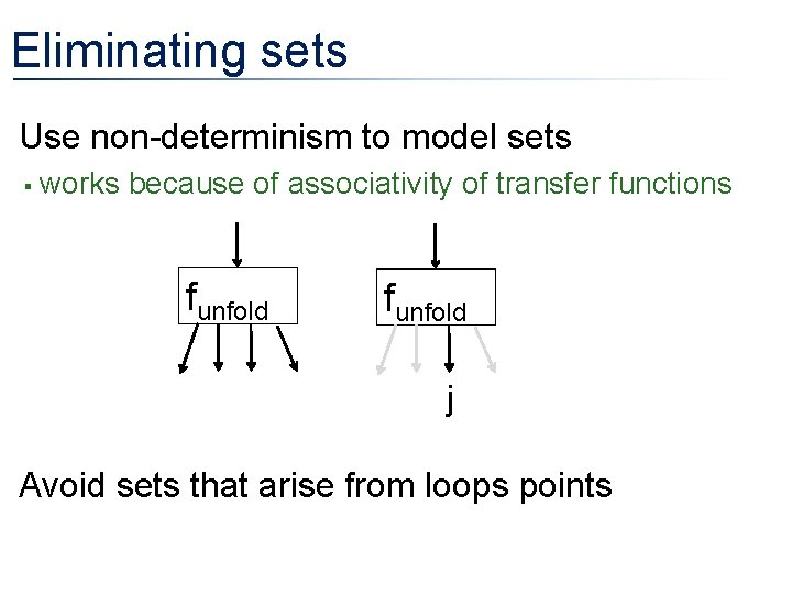 Eliminating sets • Use non-determinism to model sets § works because of associativity of