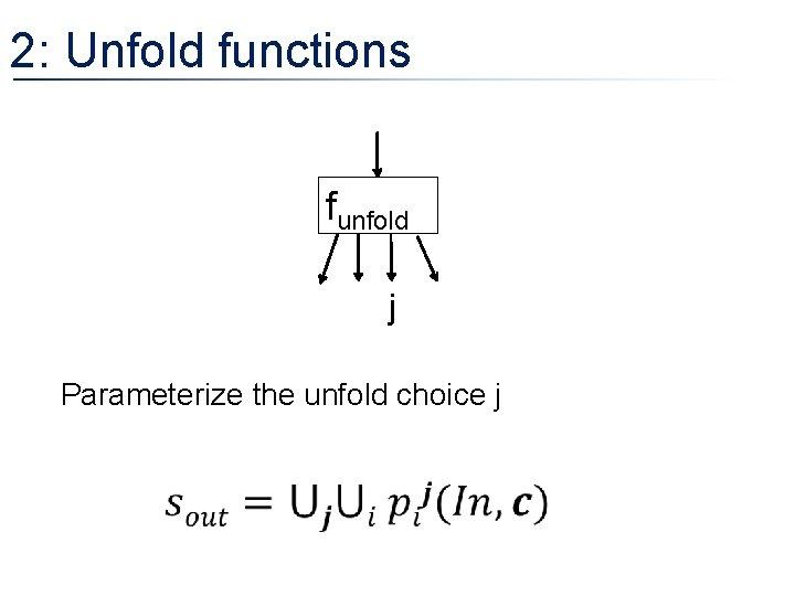 2: Unfold functions funfold j Parameterize the unfold choice j