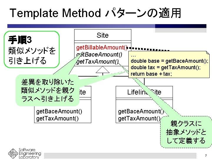 Template Method パターンの適用 Site 手順3 類似メソッドを 引き上げる get. Billable. Amount() get. Bace. Amount() …