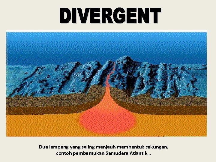 Dua lempeng yang saling menjauh membentuk cekungan, contoh pembentukan Samudera Atlantik…