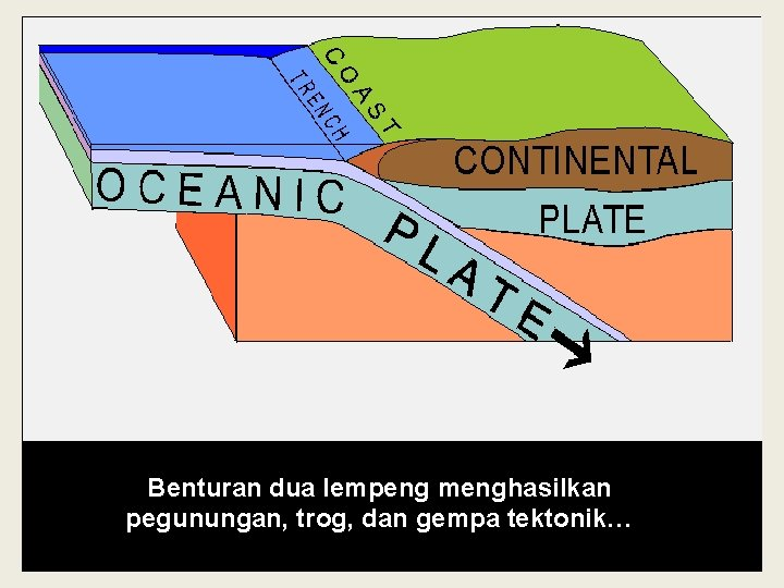 Benturan dua lempeng menghasilkan pegunungan, trog, dan gempa tektonik…