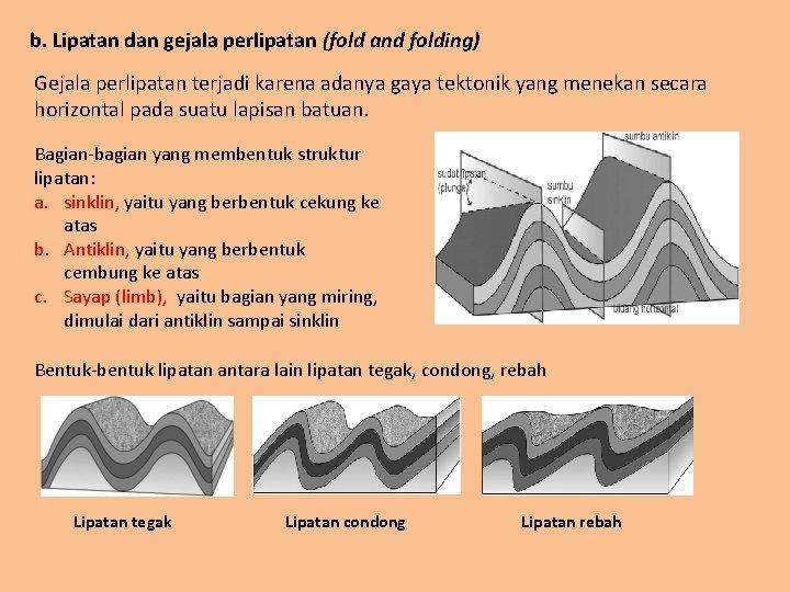 b. Lipatan dan gejala perlipatan (fold and folding) Gejala perlipatan terjadi karena adanya gaya