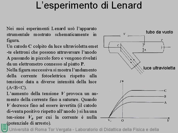 L'esperimento di Lenard Nei suoi esperimenti Lenard usò l'apparato strumentale mostrato schematicamente in figura.